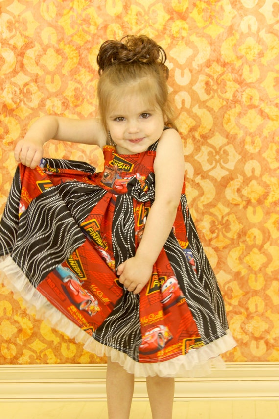 custom boutique twirl dress made with disney cars fabric  size 2-6