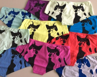 Size XL cute cat undies in 10 different colors! Hand-painted with love <3