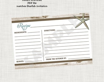 Starfish Recipe Card - Instant Download