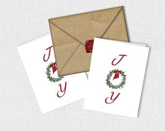 Joy Wreath Digital Art Cards INSTANT DOWNLOAD Original Printable Art DIY Printable Christmas Card