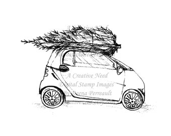 INSTANT DOWNLOAD Digital Stamp Image Bringing Home The TREE, Christmas, digital image, scrapbook, cards, paper crafts, art journaling