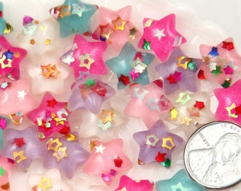Resin Star Flatbacks - 14mm Little Sparkle Party Confetti Pastel Star Acrylic or Resin Flatback Cabochons - 12 pc set