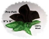 "Dream Felt's BLACK Merino Pre-Felt 9"" x 9"" 100% Wool Fabric Perfect for Needle Felting"