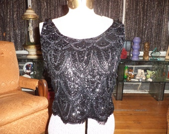 Sexy Mad Men Pin-Up 1960's Midcentury Black Jet Beaded Sequined Fringed Evening Sweater Knit Tank Top Small Medium