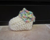0-3 Months Crochet Cream Crocodile stitch Unisex Booties With Multicolor Trim