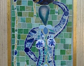 Rain Catcher ~ Original Mosaic Wall Hanging, framed