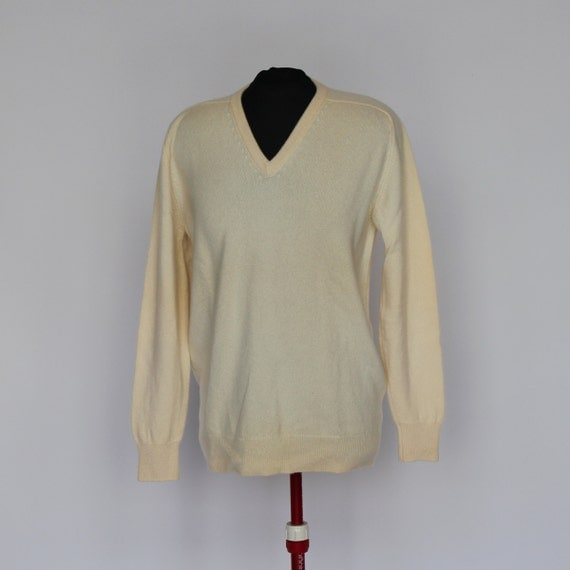 Mens White Cashmere Sweater 70's Cashmere Sweater / Mens