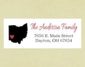 Return address labels, stickers, rectangular--states