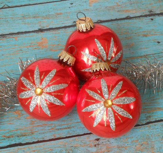 3 Vintage West Germany Glass Christmas Ornaments With Glitter