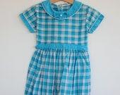 Vintage 1950's Toddler Girl Dress - Blue Plaid (2-3T)