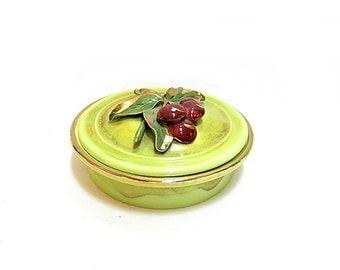 California Pottery Box Hope Warren Artist Cherries on Chartreuse Gold Edge 1950s Home Decor