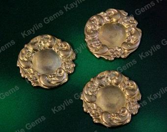 Brass Stamping Floral Flourish Round Victorian 18mm Decorative Ornate Ornament  USA SF210- 2pcs