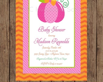 Custom Printed Pink Pumpkin Baby Shower Invitations - 1.00 each with envelope