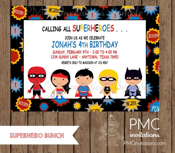 Custom Printed Superhero Birthday Invitations - 1.00 each with envelope