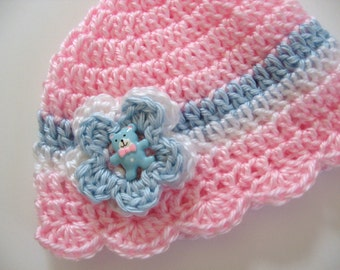 Ready To Ship Pink Crochet Baby Girl Hat - Crocheted Pink Baby Hat Teddy Bear Button - Crocheted Pink Baby Girl Hat - Size 3 to 6 Months