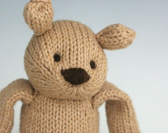"Bigger Chocolate Malt Bear - Hand Knit Organic Cotton Eco Friendly Stuffed Animal - Classic Toy Teddy, 12"" tall"