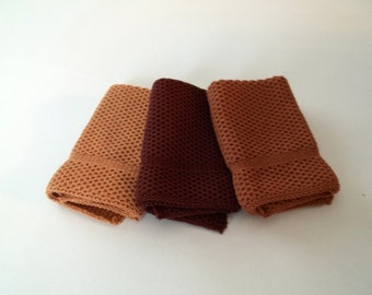 Dish Cloths Knit in Cotton in Rusty Brown, Calfskin and Longhorn, Knit Wash Cloths, Washcloth, Dishcloth