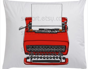 red Typewriter old with paper --Original Illustrate Drawing  Print transfer on Pillows, t-shirts, scrapbook, lampshades  ETC.v