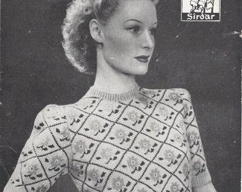 511 - Rose Fair Isle Pattern Vintage Knitting Pattern