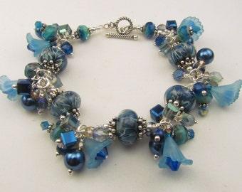 Aqua Blue Beaded Lampwork Charm Bracelet, Beaded Charms, Handmade by Harleypaws, SRAJD