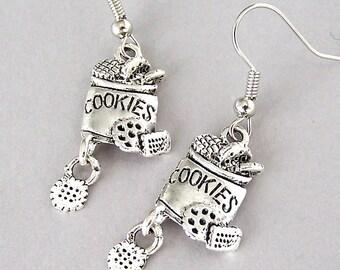 Cookie jar earrings, miniature cookie jar earrings, love to bake earrings, cookie lover earrings, antiqued silver