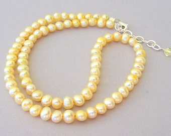 Pale yellow pearl necklace, yellow freshwater pearl necklace, bridal elegance