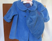 Vintage Baby or Doll Lined Coat and Bonnet Hat Corduroy Dark Blue Satin Lining Baby Clothes Peter Pan Collar