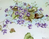 Hand Painted Violets Large Dresser Tray  Porcelain  France