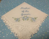 reserved for Jenny Mother of bride/mother of groom wedding handkerchief, hand embroidered, flower swag, wedding colors welcome, dated in opp
