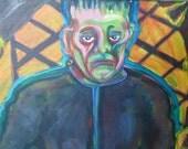 Vintage Frankenstein Painting Karloff in Frankenstein Art by Artist S. Adamo