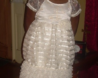 Custom Flower Girls Peasant Bubble Dress Wedding Heirloom Ivory Cream Ribbon Organza Layers Lace Ruffles Beach Portrait Photo Size 7 8 10
