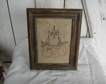 Hoot For Fall Owl Stitchery, Primitive, Rustic, Fall, Halloween, Thanksgiving, Stitchery, Ofg, Faap, Hafair. Dub
