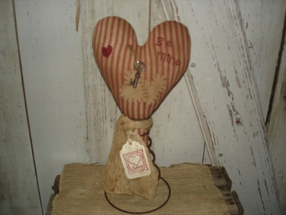 Valentine Heart Make Do, Primitive, Rustic, Rusty Spring Make Do, Valentines Day, Heart, Home Decor, Ofg, Faap, Hafair, Dub