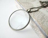 LENS 4cm // Vintage Magnifier Lens pendant with brass bezel