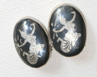 Vintage Siam Sterling Silver Niello Ware Earrings Mekkala, the Dancing Goddess Clip on