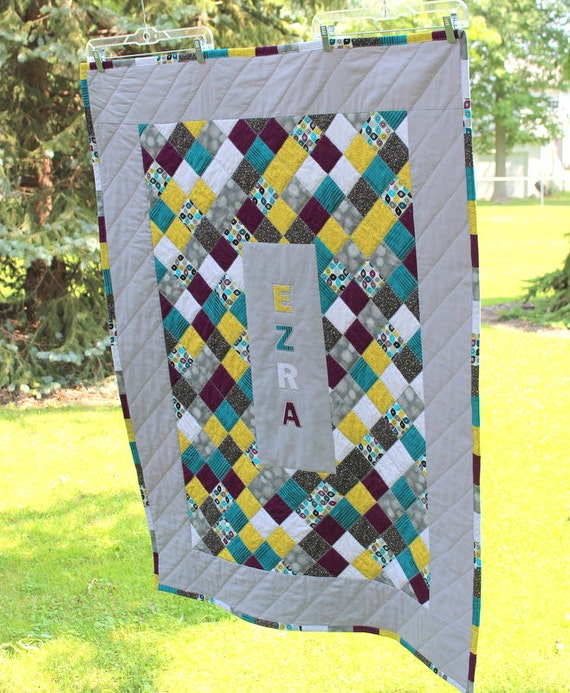 Custom Baby Quilt Patchwork Quilt Personalized Baby Name : custom baby quilts - Adamdwight.com