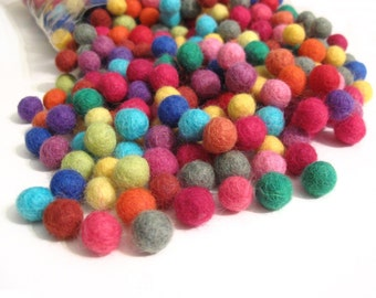 Felt Balls Color Mix - 50 Pure Wool Beads 10mm - Multicolor Shades  (W200)