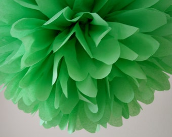 APPLE / 1 tissue paper pom pom / diy / wedding decorations / st patricks day / green decorations / green poms / pompoms / hanging poms