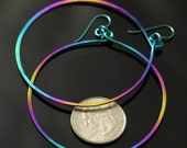 "Double rainbow niobium earrings - brilliant, extra-large 2.75"" swinging hoops"