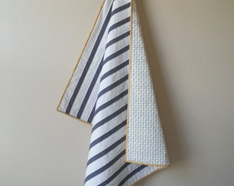 Classic Modern Striped Baby Quilt in Charcoal Gray
