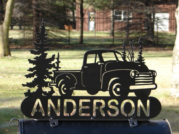 Vintage Pick Up Mailbox Topper Metal Address Sign Collector
