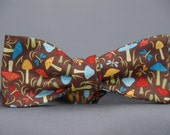 Multi-colored 'Shrooms on Brown  Bow Tie