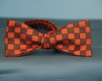 Orange and Brown Squares  Bow Tie