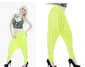 Hammer Pants Drop Crotch Harem Leggings Neon Yellow Green Bright 80s 90s Inspired S Small Medium M