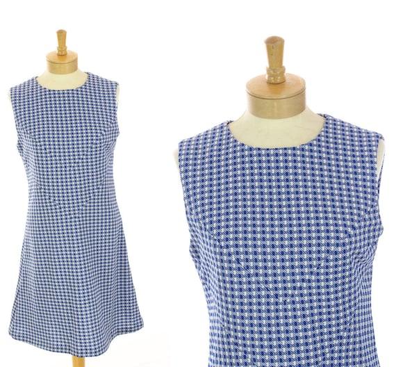 60s Mod Dress Houndstooth Blue & White A-Line Mod Mini Plaid Checkered 1960s 70s 1970s  Large L