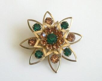 Vintage Golden Amber & Green Rhinestones Star Pin Brooch