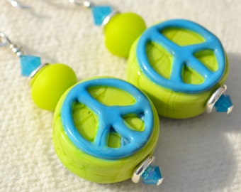 PEACE SIGN-Handmade Lampwork and Sterling Silver Earrings
