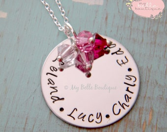Personalized Hand Stamped Family Names Necklace with Swarovski Birthstone Charms