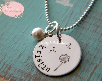 Personalized Hand Stamped Necklace with Whimsical Dandelion Flower Stamp and Ivory Swarovski Pearl