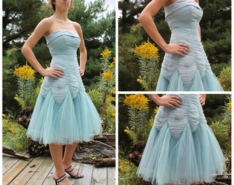 vintage 1950s light blue party dress mermaid tulle mad men pin up bombshell prom size small wedding homecoming dance